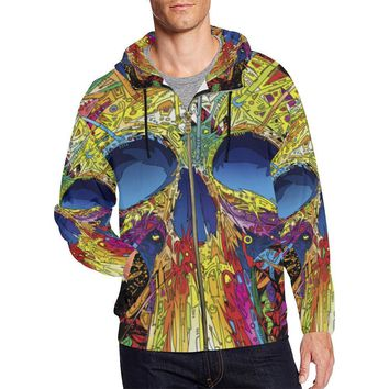 Sugar Skull Men's All Over Print Full Zip Hoodie