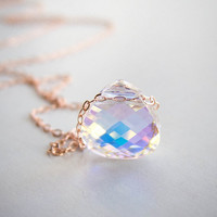 Aurora Crystal Necklace . Crystal AB Swarovski . rose or yellow gold filled . dainty necklace