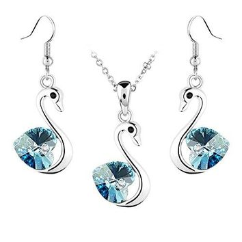 SHIP BY USPS: Jewelry Set Swan Pendant Necklace + Dangle Earring Heart Shaped Swarovski Aquamarine Blue Crystal