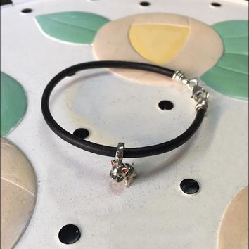 French Bulldog Sterling Silver Charm Hanging on a Black Leather Cord Bracelet