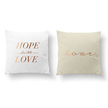 SET of 2 Pillows, Hope Faith Love Pillow, Home Heart Pillow, Nursery Decor, Throw Pillow, Kids Pillow, Cushion Cover, Gold Decorative Pillow