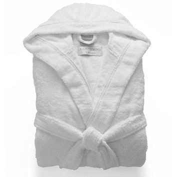 Hooded Turkish Cotton Robe | White