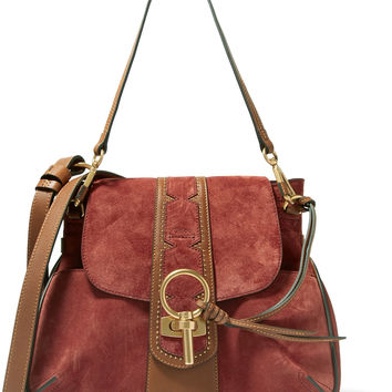 Chloé - Lexa studded leather-trimmed suede shoulder bag