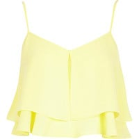 River Island Womens Yellow double layer crop cami top