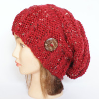 Red tweed slouch hat women - beanies hat - Slouch Beanie - Large hat - chunky hat - Chunky Knit Winter Fall Accessories , Slouchy hat