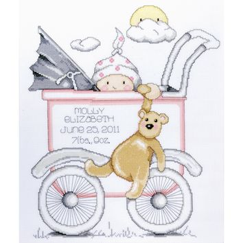 "Baby Buggy Girl Birth Record Counted Cross Stitch Kit 13""X15"" 14 Count"