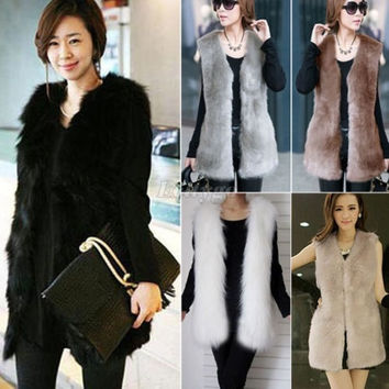 Women Faux Fur Shaggy Vest Sleeveless Coat Outerwear Long Hair Jacket Waistcoat = 1932760452