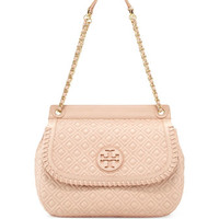 Marion Quilted Leather Saddle Bag, Pink