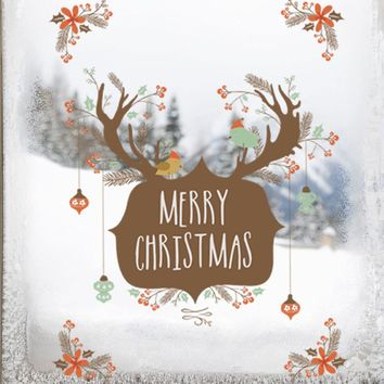 New Arrival Merry Christmas Decoration Deer Wall Sticker Window Party Decoration New Year Home Decor Poster Mural Christmas gift