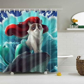 New Colorful Eco-Friendly Cat Washable Bath Decor Shower Curtains