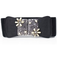 Rhinestone Embellished Metal Flower Embellished Waist Belt