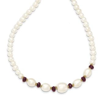 14k Yellow Gold Fresh Water Cultured Pearl and White Faceted Garnet Bead Necklace