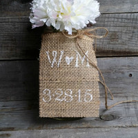Personalized Burlap Wedding Table Tags, Rustic Wedding Decor, Burlap Table Tags, Mason Jar Burlap Tags, Burlap Centerpieces, Set of 10