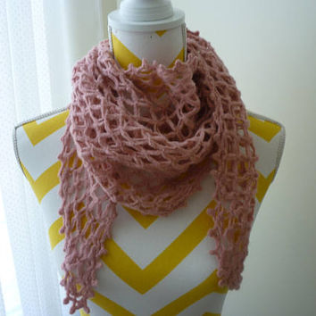 Shawl, Rose Pink Crochet Shawl, Fishnet Wrap, Mesh Sarong, Lightweight Shawl, Summer Wrap, Ladies Fashion Neck scarf great with winter coat.