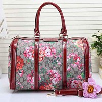 Gucci Popular Ladies Leather Multicolor Flower Flower Luggage Travel Bags Tote Handbag Red I