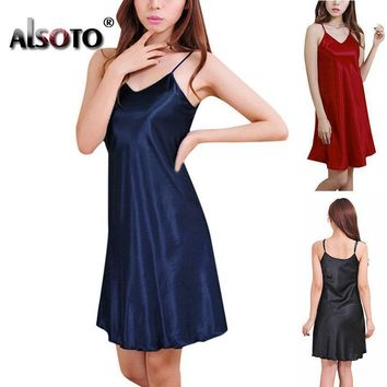Women Silk  Thin Strap Night Gown In Solid Colors