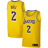 Men's Los Angeles Lakers Lonzo Ball Nike Gold Swingman Jersey - Icon Edition - Best Deal Online