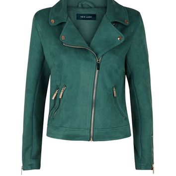 Green Suedette Biker Jacket | New Look