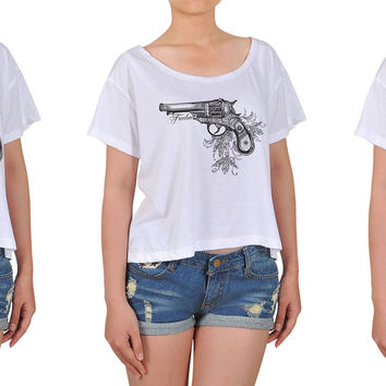 Women Decorative Pistols Printed Cotton Croptop WTS_08