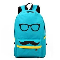 Fashion Mustache and Glasses Canvas Campus Bag Laptop Book Bags School Backpack For Boys Girls (Sky Blue)