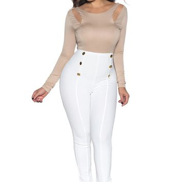 White High Waist Gold Button Accent Pants