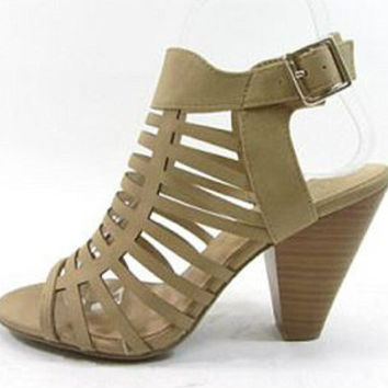Playing It Cool Caged Peep Toe Heels ~ Camel