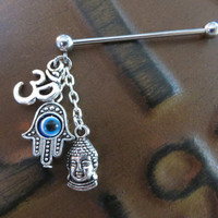 Ohm Hamsa Buddha Industrial Barbell Charm Chain Om Evil Eye Scaffold Piercing Bar