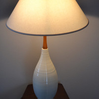 Antique Mid Century Modern Lamp Teak Ceramic Mod Decor Light