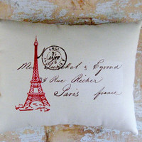 Eiffel Tower Pillow French Country Home Paris by parismarketplace