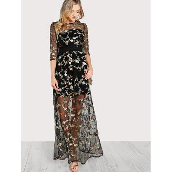 Multicolor Botanical Embroidery Mesh Overlay 2 In 1 Dress