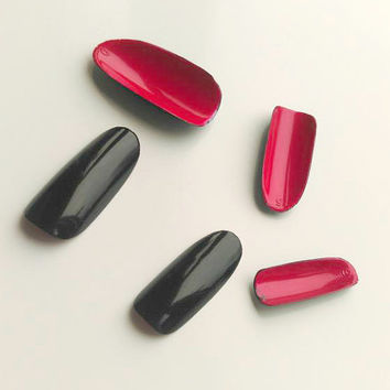 Louboutin Nails, Black Stiletto Nails With Red Bottom, Fake, False, Acrylic, Handpainted, Press on Nail Set