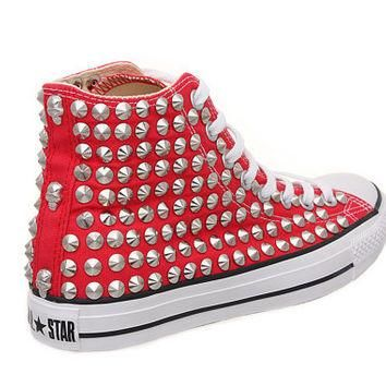 Studded Converse, Converse high top with silver conical rivet studs by CUSTOMDUO on ET