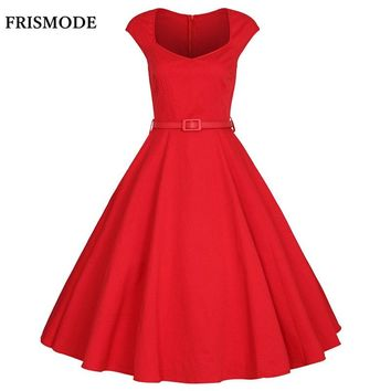FRISMODE XS-4XL 2018 Summer Fashion V-neck Midi Red Swing Dress Plus Size Vintage 1950s 60s Dresses Women Retro rockabilly Dress