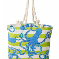 Blue, Green & White Striped Nautical Icon Octopus Print Jute Tote