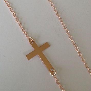 FREE US SHIPPING 14K Rose Gold Cross Necklace Kelly Ripa Style