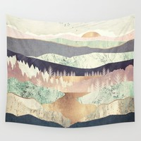Golden Spring Reflection Wall Tapestry by spacefrogdesigns