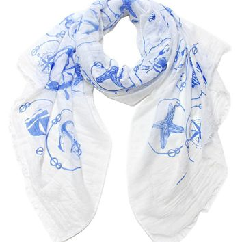 LL Sea Life TPrinted Scarf Color-Mint