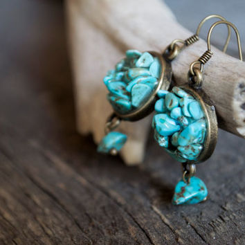 Turquoise dangle earrings // Mineral turquoise earrings, bohemian jewelry, uncut mineral earrings, turquoise jewelry, tiny mountains
