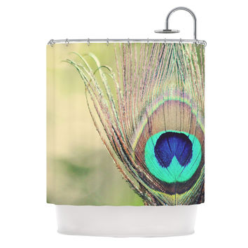 "Beth Engel ""Sun Kissed"" Peacock Feather Shower Curtain"