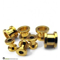 "Gold Plated Stainless Steel Screw on Tunnels (8G - 00"") 