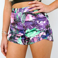 PURPLE FLORAL JAGGED CROSSOVER WRAP HIGH WAISTED SHORTS 6 8 10 12