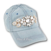 Olive & Pique Light Denim Bling Baseball Cap