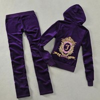 Juicy Couture Studded Jc Crown Velour Tracksuit 6001 2pcs Women Suits Purple