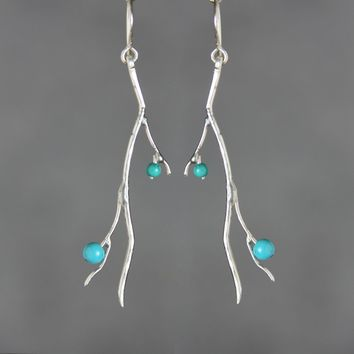Sterling silver turquoise organic natural branch long linear earrings handmade US freeshipping Anni Designs