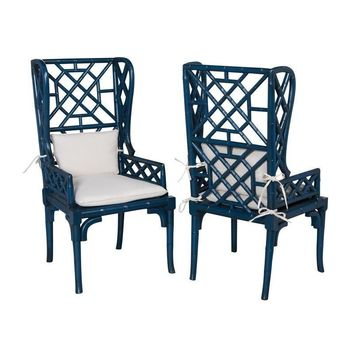 Bamboo Wing Back Chair Blue (Set of 2)