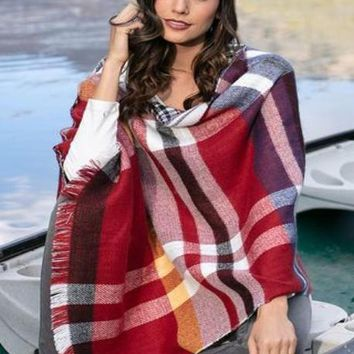 Reversible Button Scarf/Poncho- Red Plaid