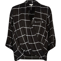 River Island Womens Black check twist wrap blouse