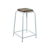 Tall Rustic Bar Stool - White