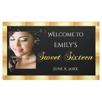 Sweet Sixteen, Custom Photo, Gold Sparkle Banner