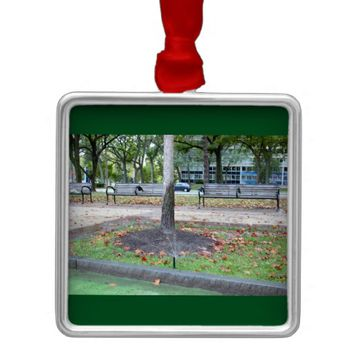 Park Benches Photo Metal Ornament